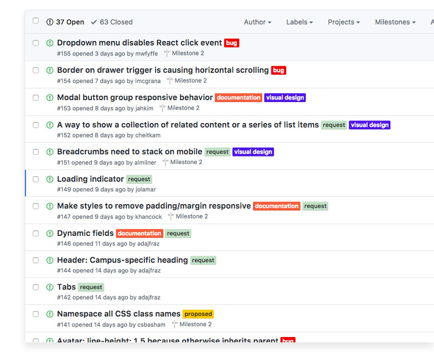 Github interface showing a list of issues submitted by community members